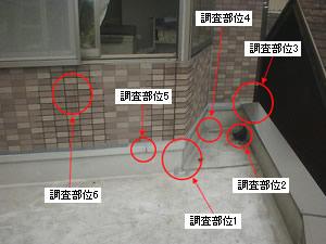 調査部位設定 雨漏り箇所直上部